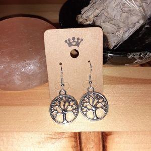 Silver Tree Of Life Hook Earrings